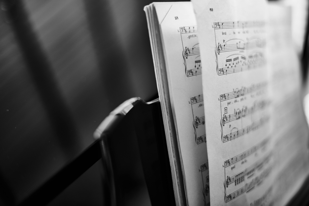 Black and white close up image of sheet music
